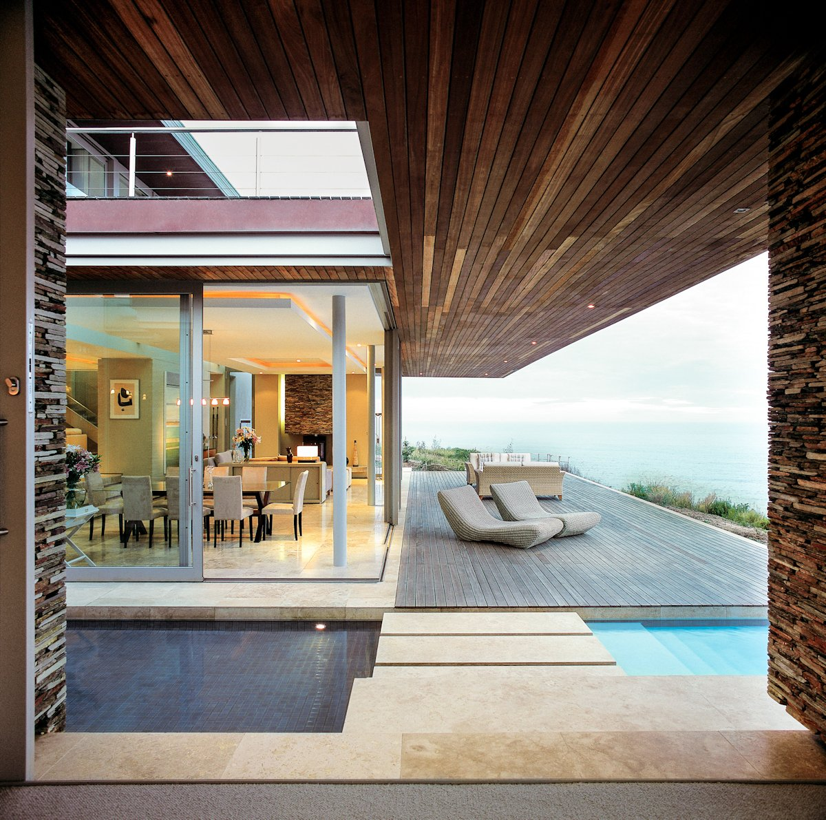 Wood Flooring, Ceiling, Glass Sliding Doors, Cliff Top Home in Knyzna, South Africa