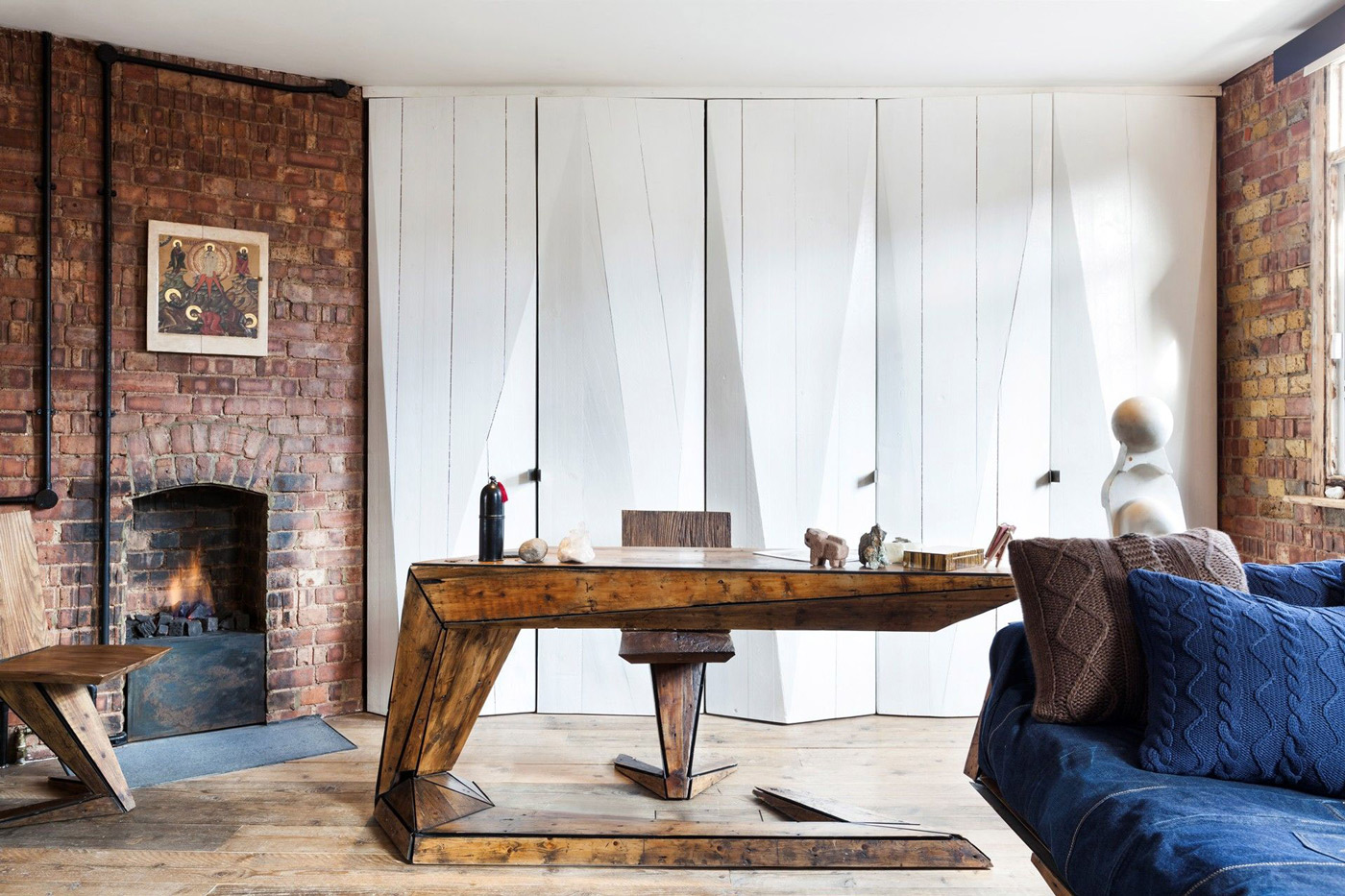 Wooden Desk, Fireplace, Exposed Brick Wall, Archer Street Apartment in London, England