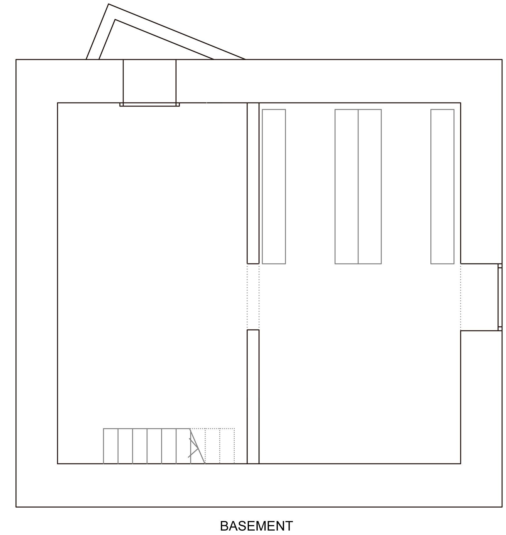 Basement Plan, Holiday Home Renovation in Ayent, Switzerland