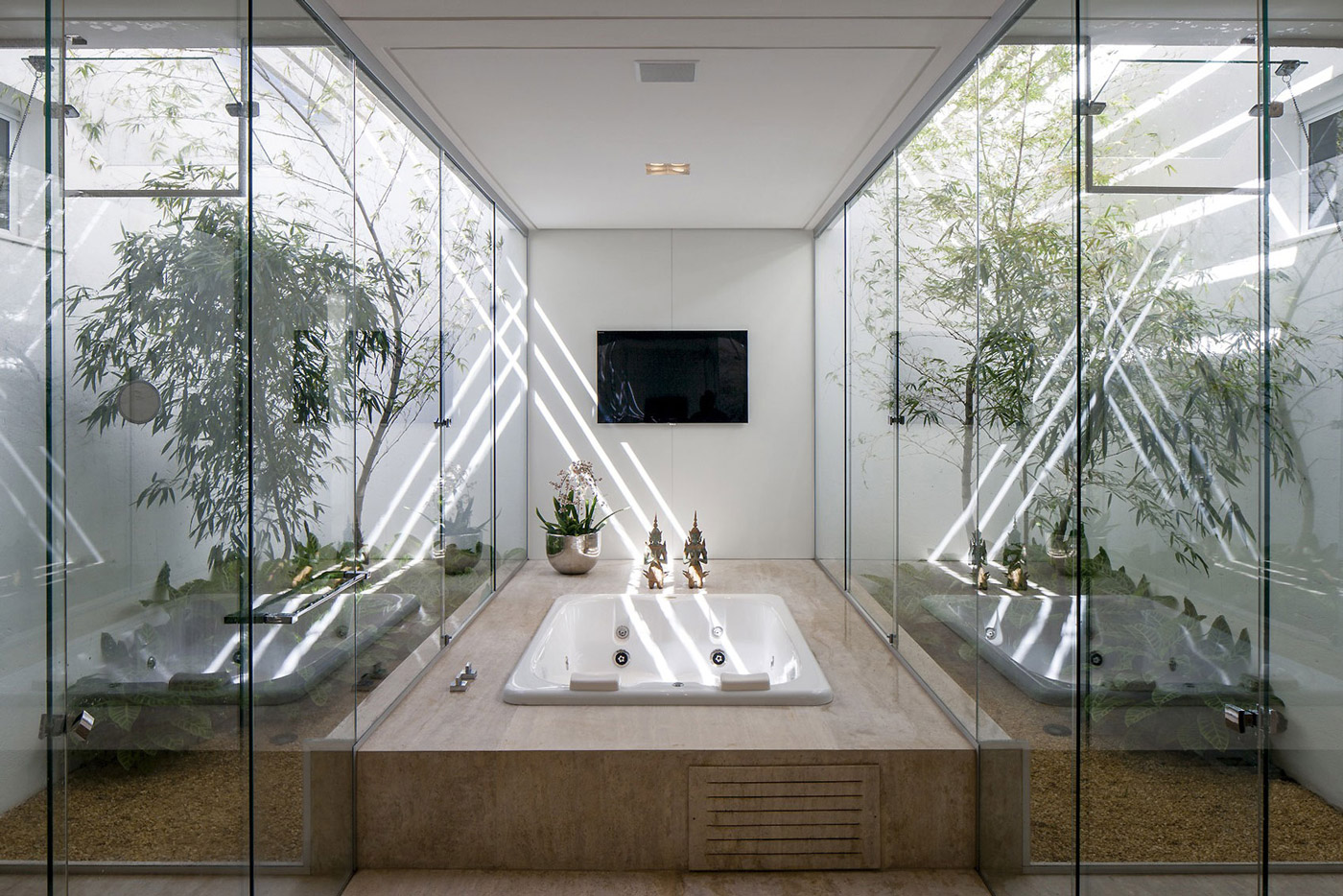 Bathroom, Bath Tub, Glass Walls, Home in Uberlandia, Brazil