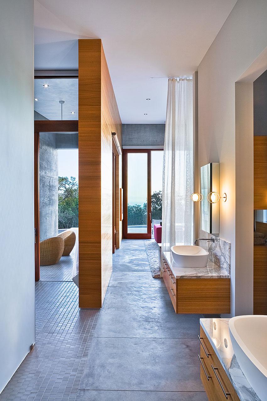 Bathroom, Double Sinks, Concrete House in Montecito, California