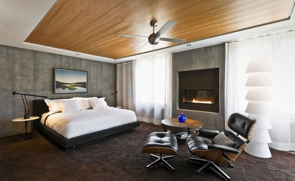 Bedroom, Contemporary Fireplace, Concrete House in Montecito, California