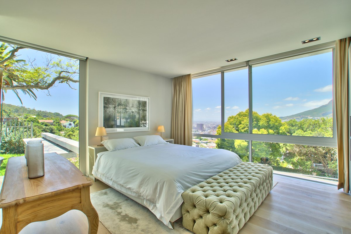 bedroom, floor-to-ceiling windows, house in tamboerskloof, cape town