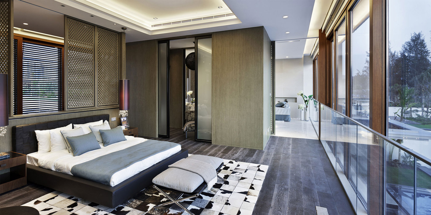 Bedroom, Glass Balustrading, Beachside Villas in Lingshui, Hainan, China