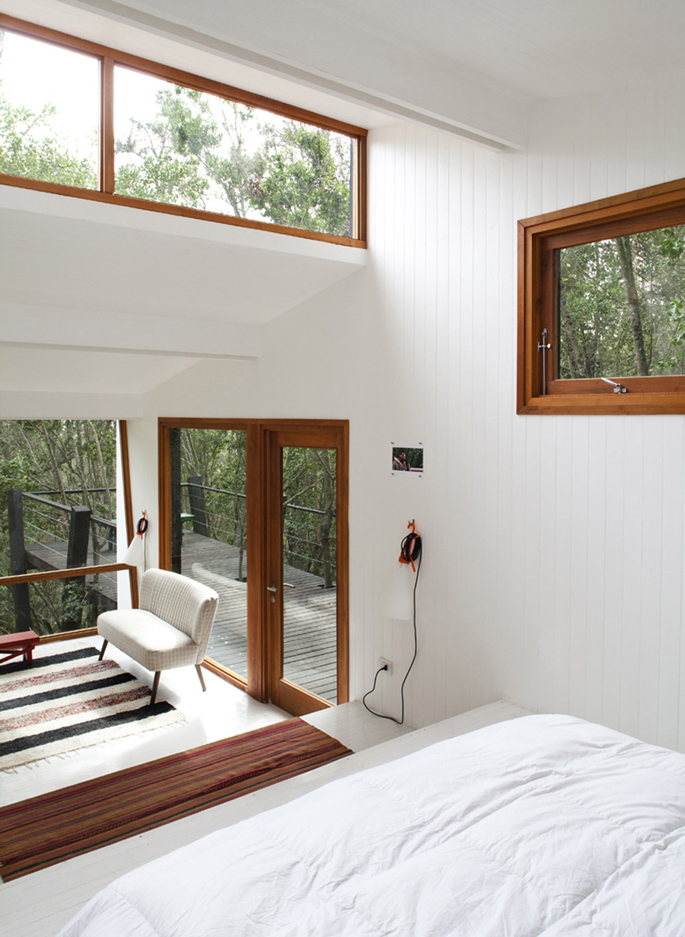 Bedroom, Open Plan Living Space, Tree House in Curacaví, Chile