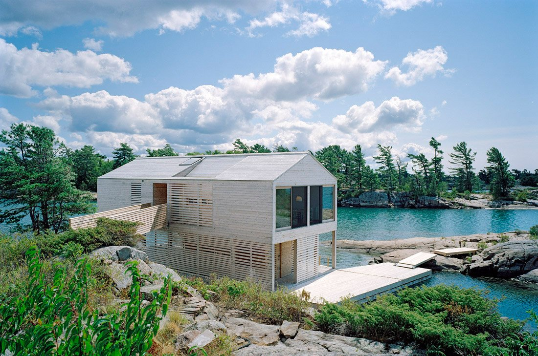 Floating House on Lake Huron, Ontario, Canada