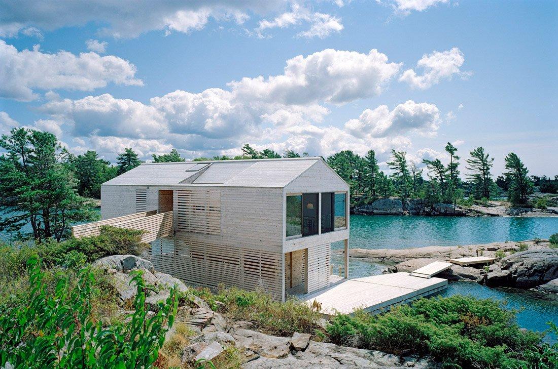Floating House on Lake Huron, Ontario, Canada