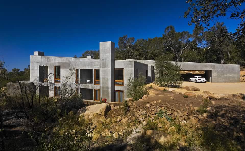 Car Port, Concrete House in Montecito, California