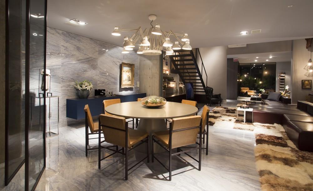 Dining Table, Lighting, Marble Wall & Floor Tiles, Apartment in Praia Brava