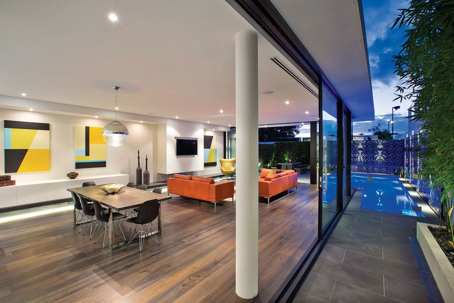 Dining Table, Sofas, Lighting, Pool, Glass Sliding Doors, Townhouses in Brighton, Australia