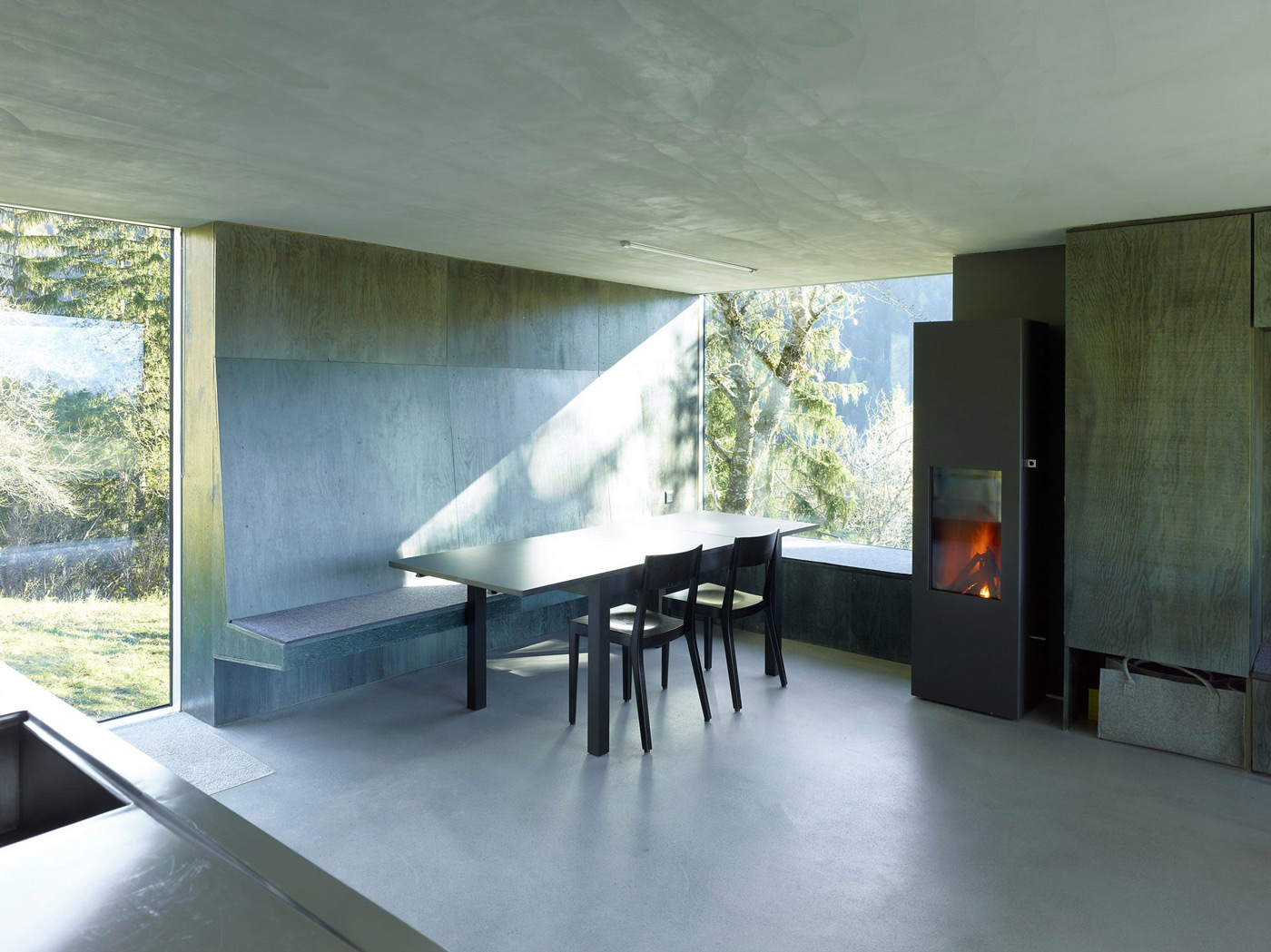 Dining Table, Wood Burner, Fireplace, Holiday Home Renovation in Ayent, Switzerland