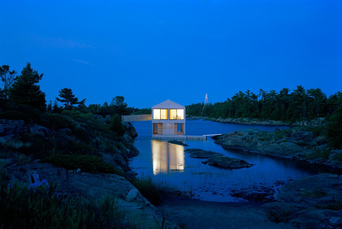 Dusk, Lighting, Floating House on Lake Huron