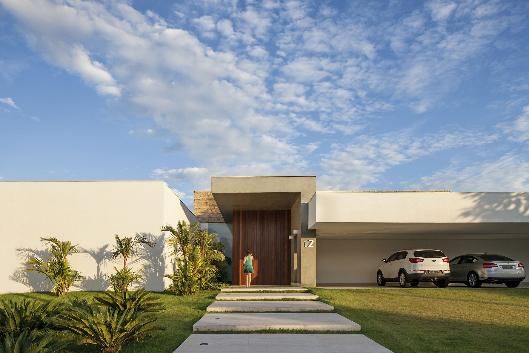Entrance, Wooden Front Door, Car Port, Home in Uberlandia, Brazil
