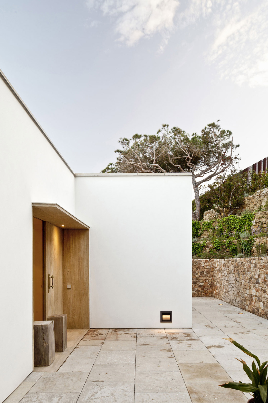Entrance, Wooden Front Door, Stone Walls, Waterfront House in Costa Brava, Spain