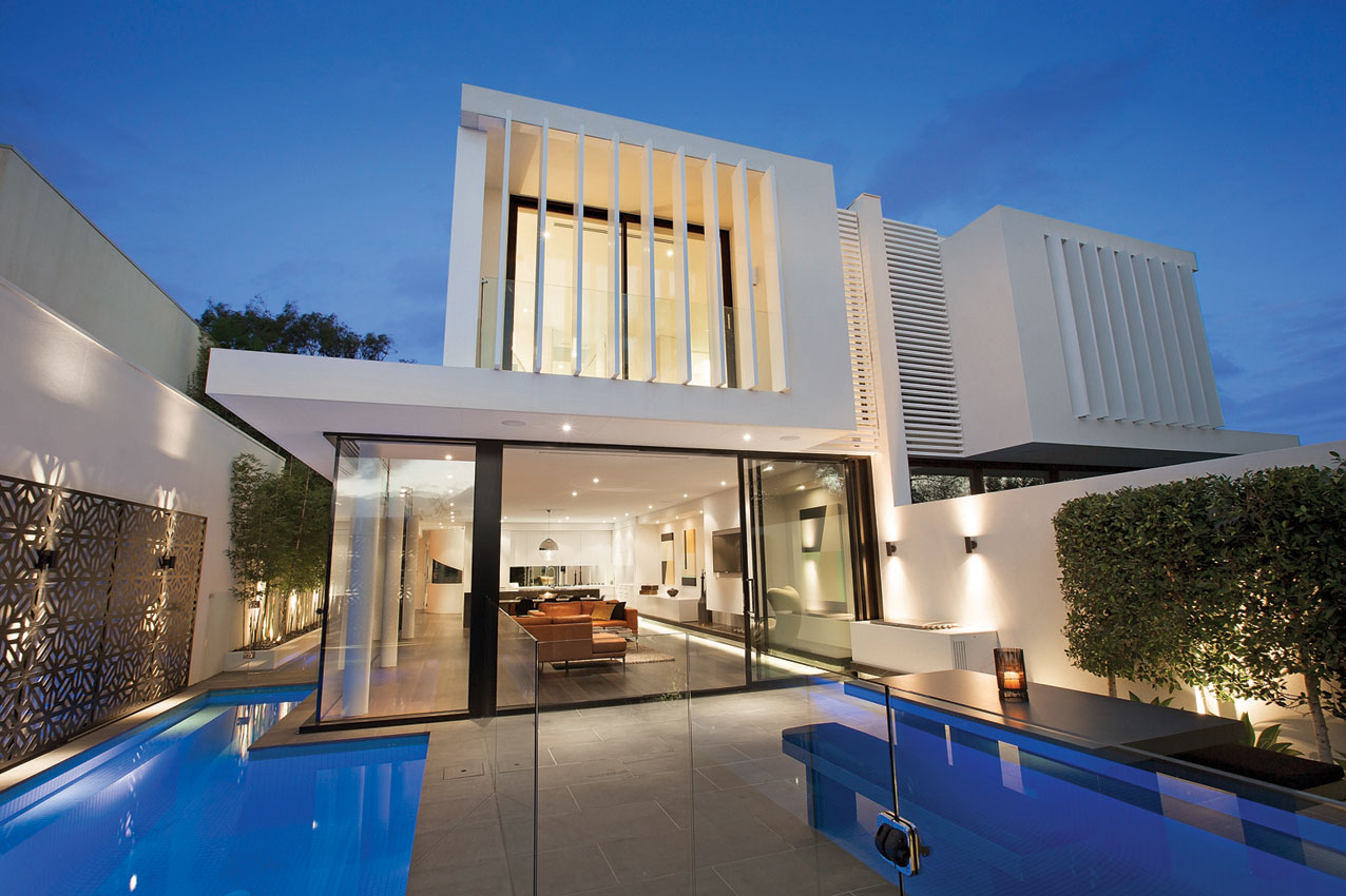 Evening, Pool Lighting, Terrace, Townhouses in Brighton, Australia