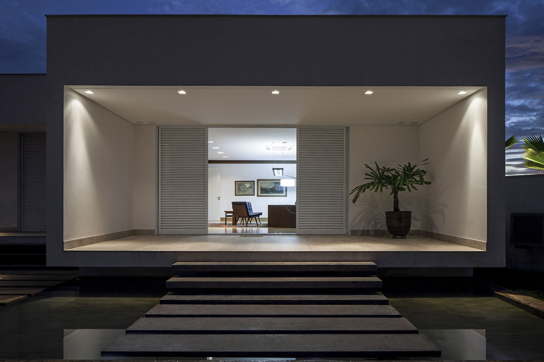 Evening, Lighting, Steps, Terrace, Home in Uberlandia, Brazil