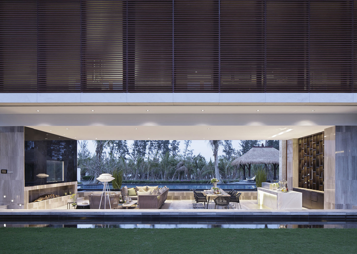 Fireplace, Living, Dining Space, Beachside Villas in Lingshui, Hainan, China
