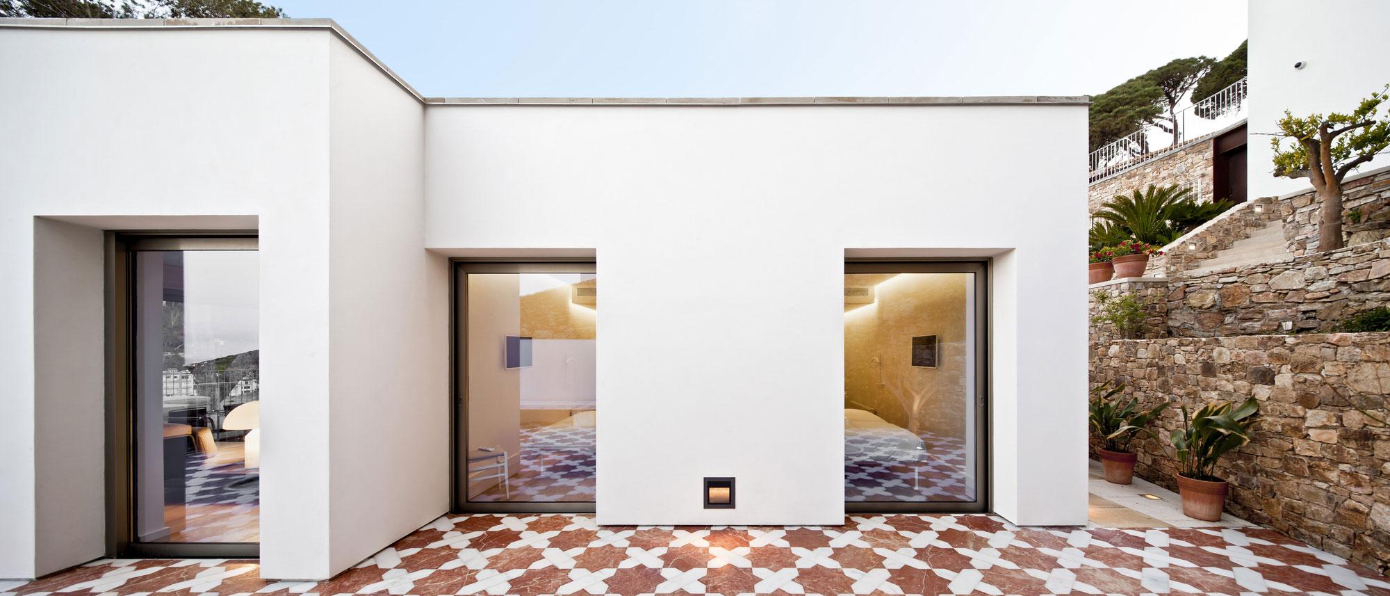 Glass Doors, Marble Terrace, Waterfront House in Costa Brava, Spain