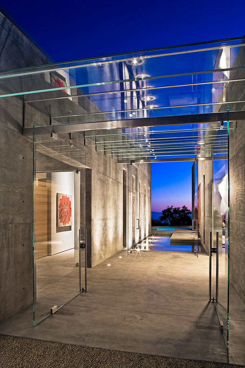 Glass Entrance, Doors, Ceiling, Water Feature, Concrete House in Montecito, California