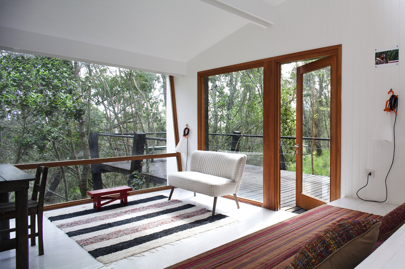 Glass Entrance, Light, Living Room, Tree House in Curacaví, Chile