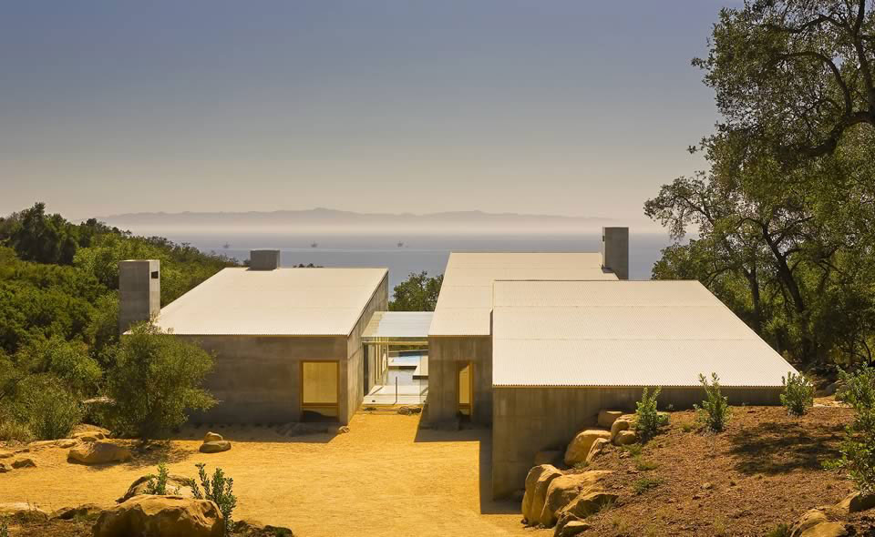 Glass Entrance, Ocean Views, Concrete House in Montecito, California
