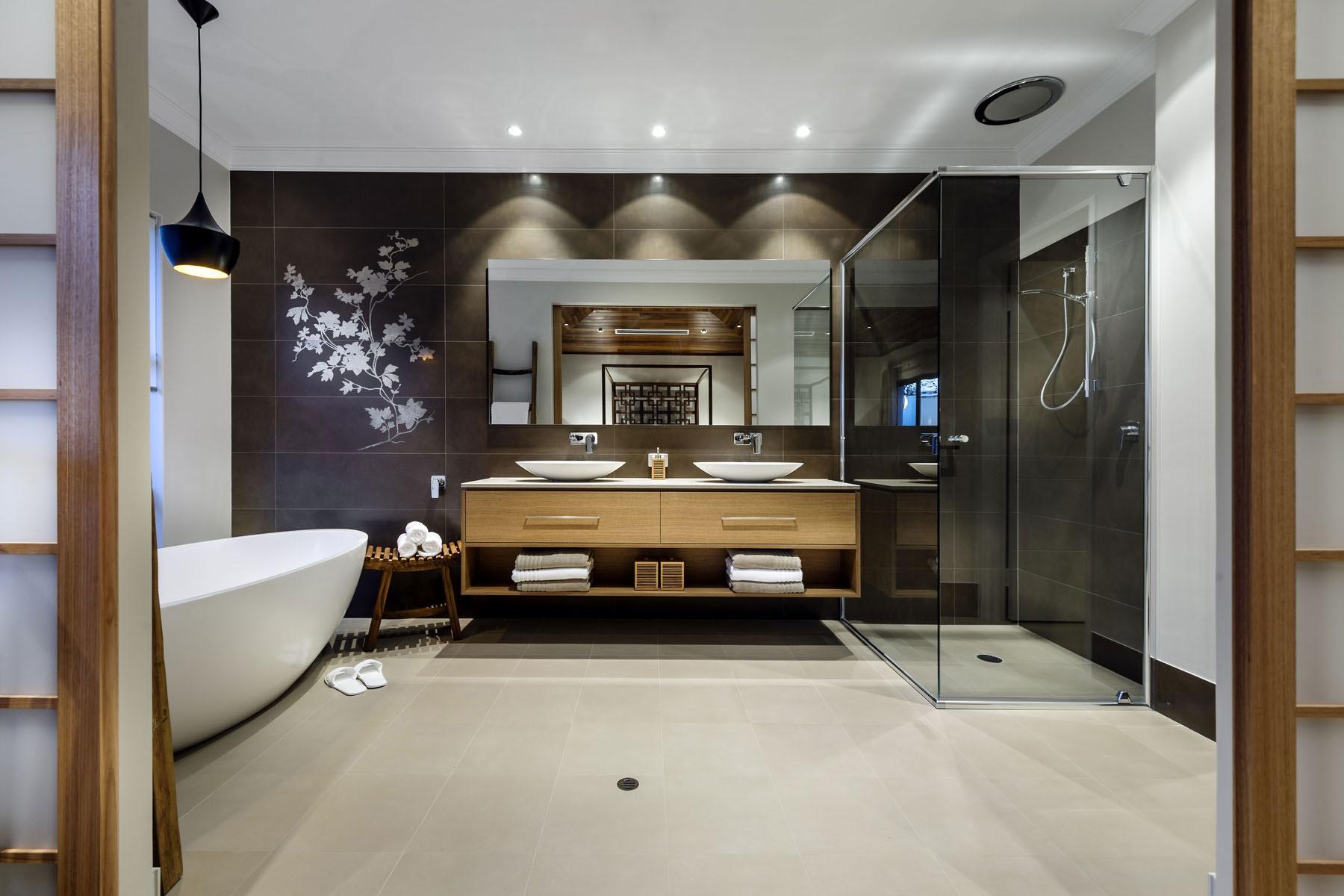 Glass Shower, Bath, Dark Tiles, Mirror, Double Sinks, House in Burns Beach, Perth