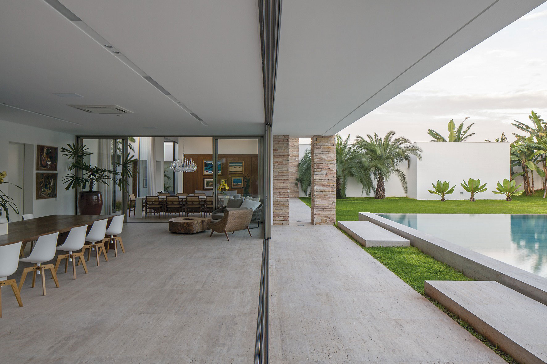 Glass Sliding Doors, Dining Space, Pool, Home in Uberlandia, Brazil