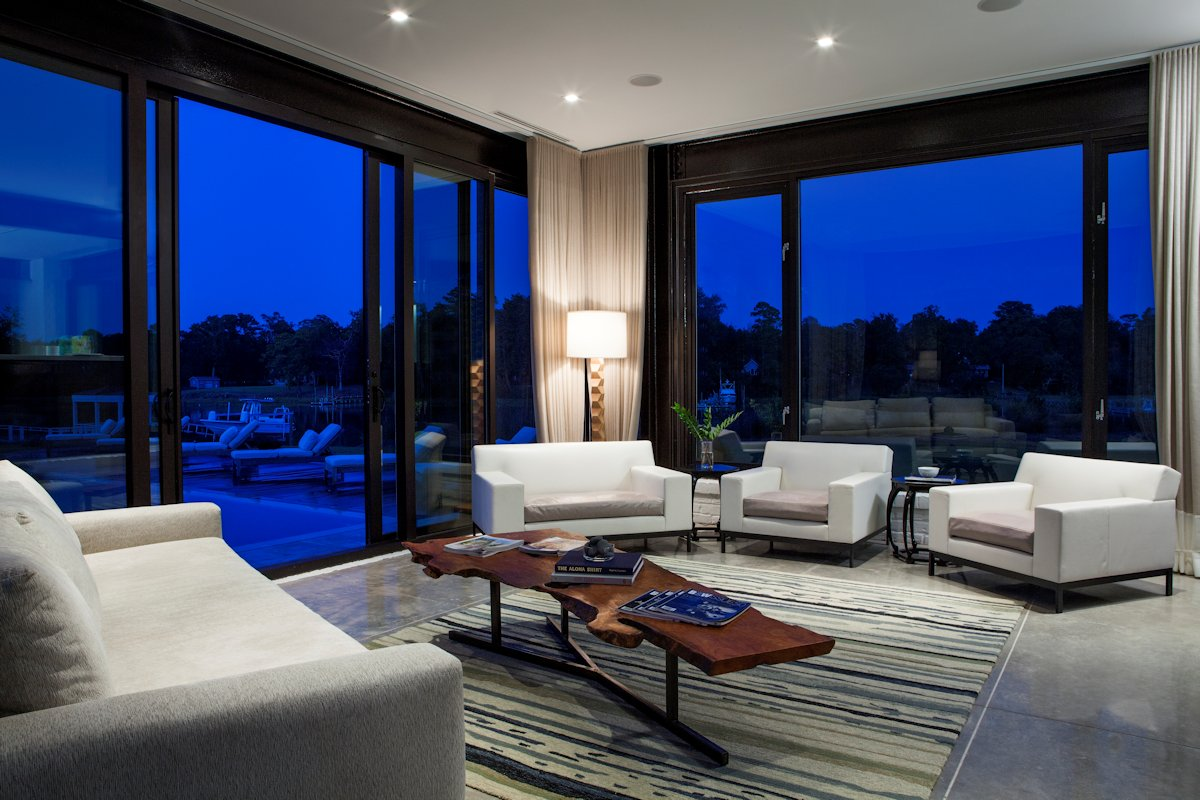 Glass Sliding Doors, Living Space, Sofa, Rug, Coffee Table, Guest House in Wilmington, North Carolina
