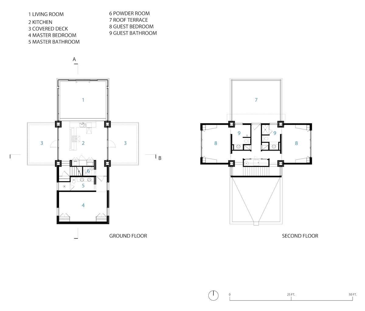 Ground second floor plans guest house in wilmington for House plans north carolina