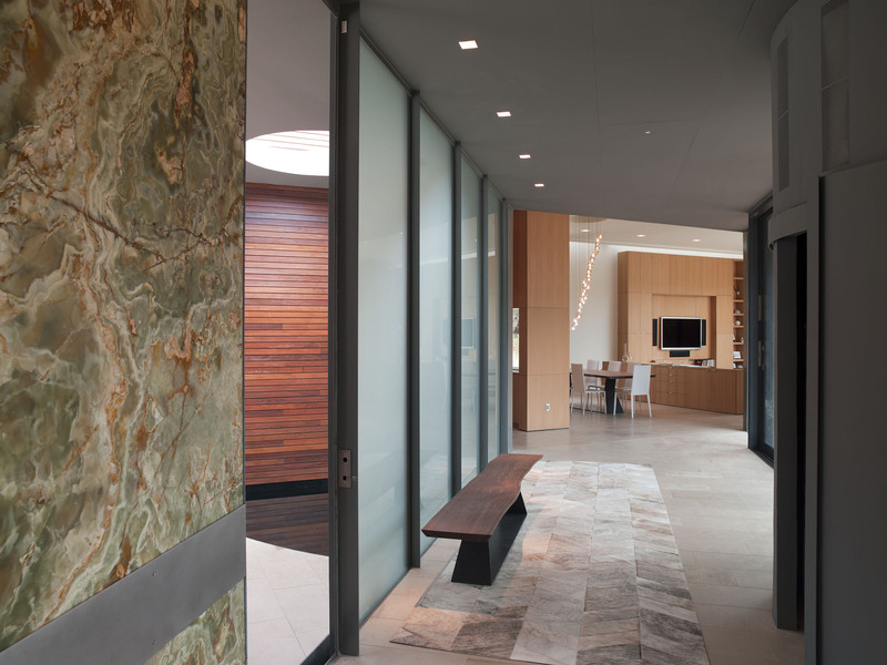 Hallway, Glass Wall, Eco-Friendly House in Texas