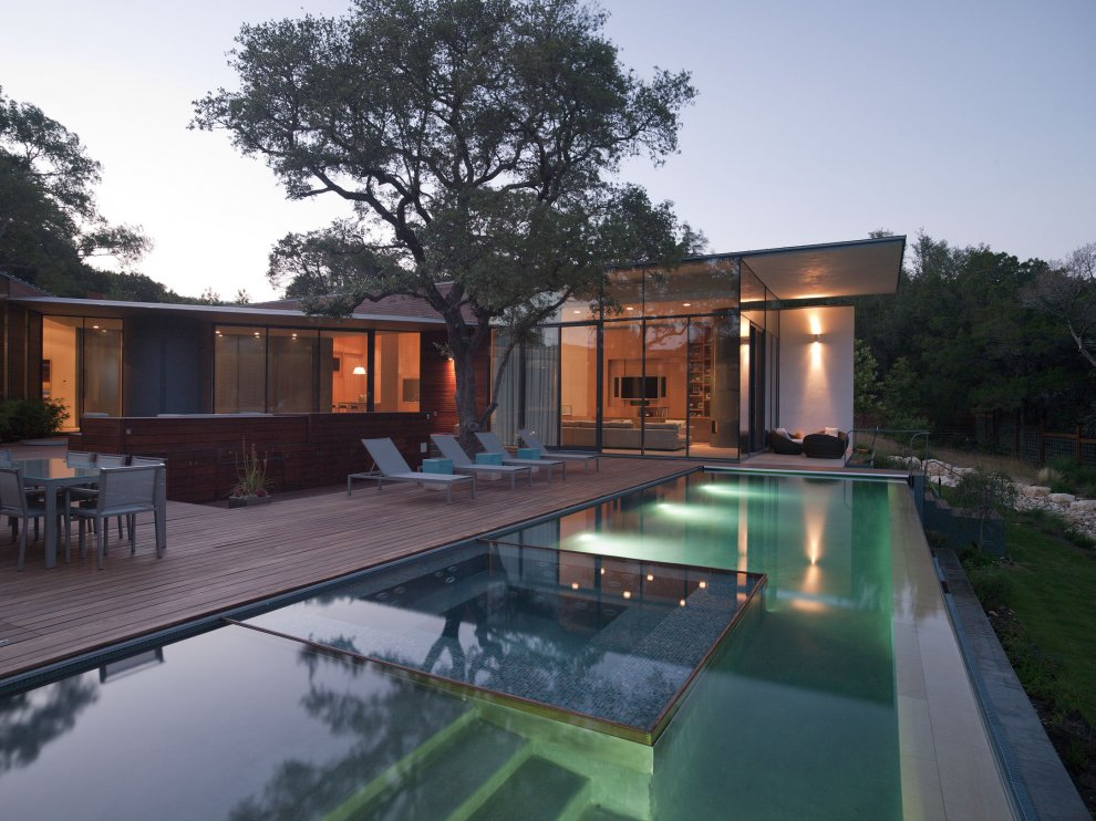 Eco Friendly House In Austin Texas Cascading Creek House
