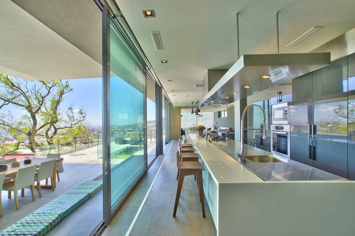 Kitchen, Island, Breakfast Bar, Glass Sliding Doors, House in Tamboerskloof, Cape Town