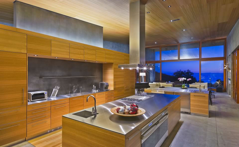 Kitchen Island, Concrete House in Montecito, California