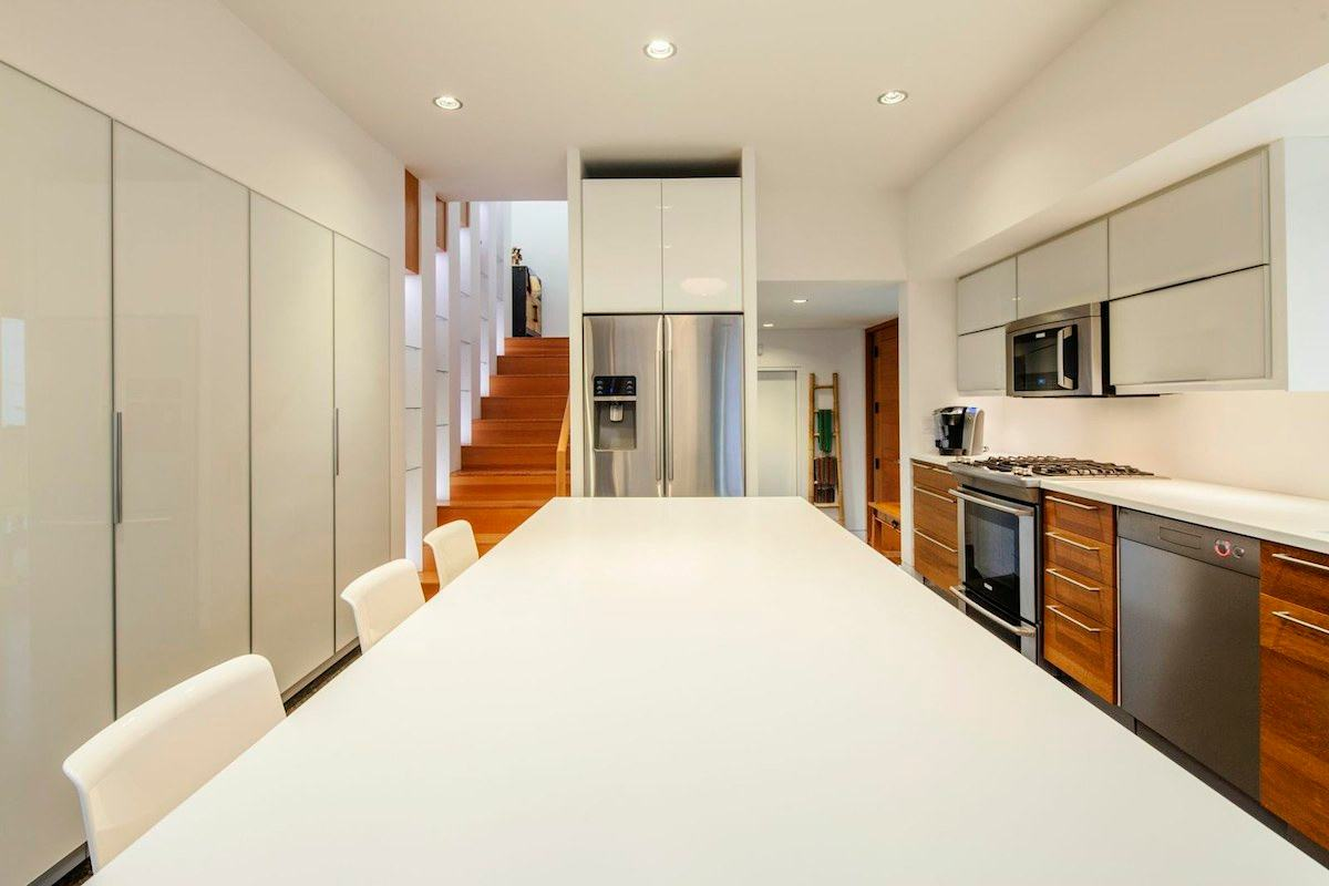Kitchen Island, Stairs, Modern House in Nanaimo, BC, Canada