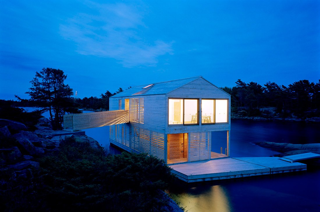 Lighting, Dusk, Floating House on Lake Huron