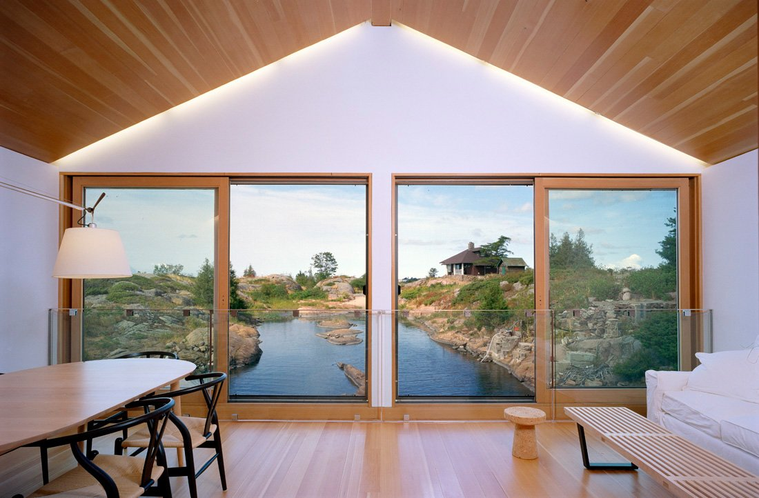 Living, Dining Space, Large Windows, Floating House on Lake Huron