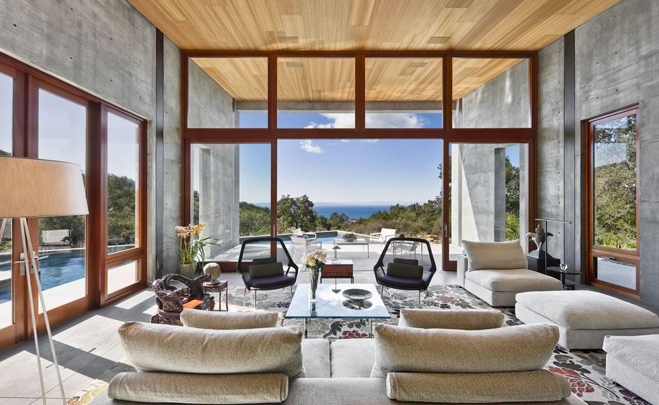Outdoor Pool, Terrace, Concrete House in Montecito, California