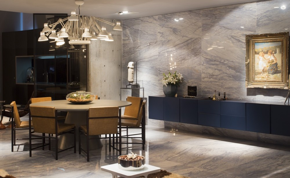 Marble Wall and Floor Tiles, Dining Area, Lighting, Apartment in Praia Brava