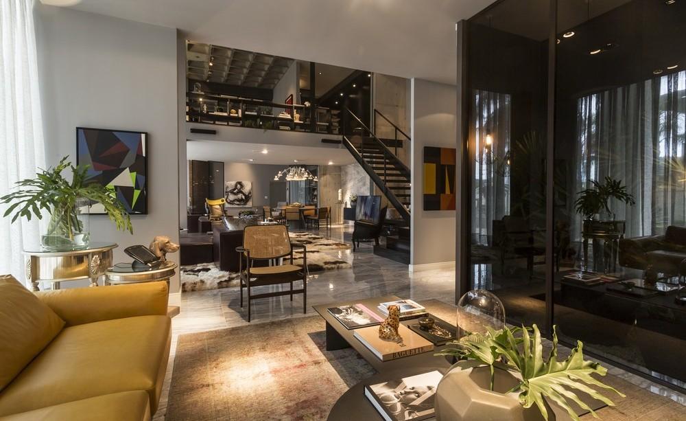 Open Plan Living Space, Dark Glass Wall, Apartment in Praia Brava
