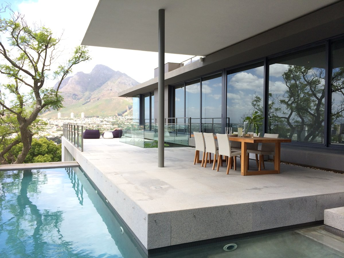 Outdoor Dining, Terrace, Pool, Glass Sliding Doors, Mountain Views, House in Tamboerskloof, Cape Town
