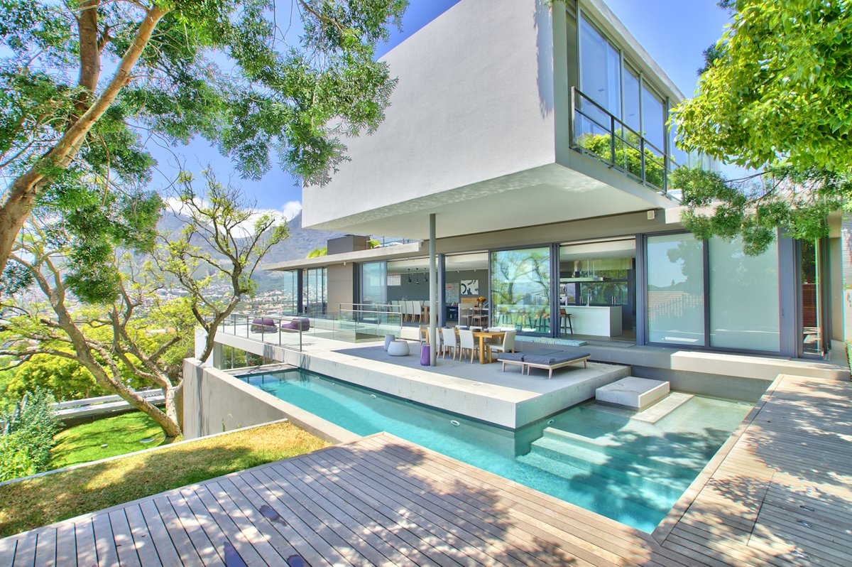 Outdoor Pool, Wood Deck, Glass Sliding Doors, House in Tamboerskloof, Cape Town