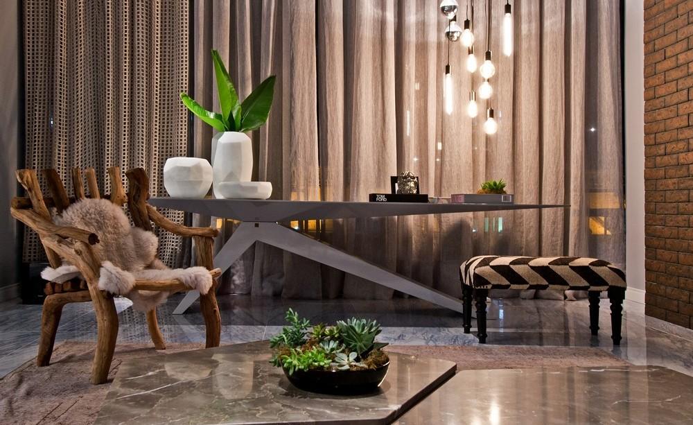 Pendant Lighting, Modern Table, Rustic Chair, Apartment in Praia Brava