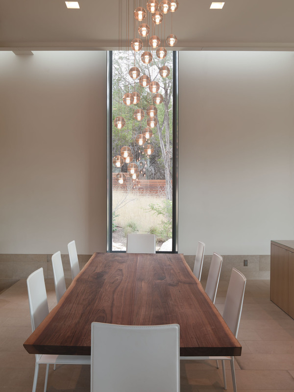 Pendant Lighting, Wood Dining Table, Eco-Friendly House in Texas