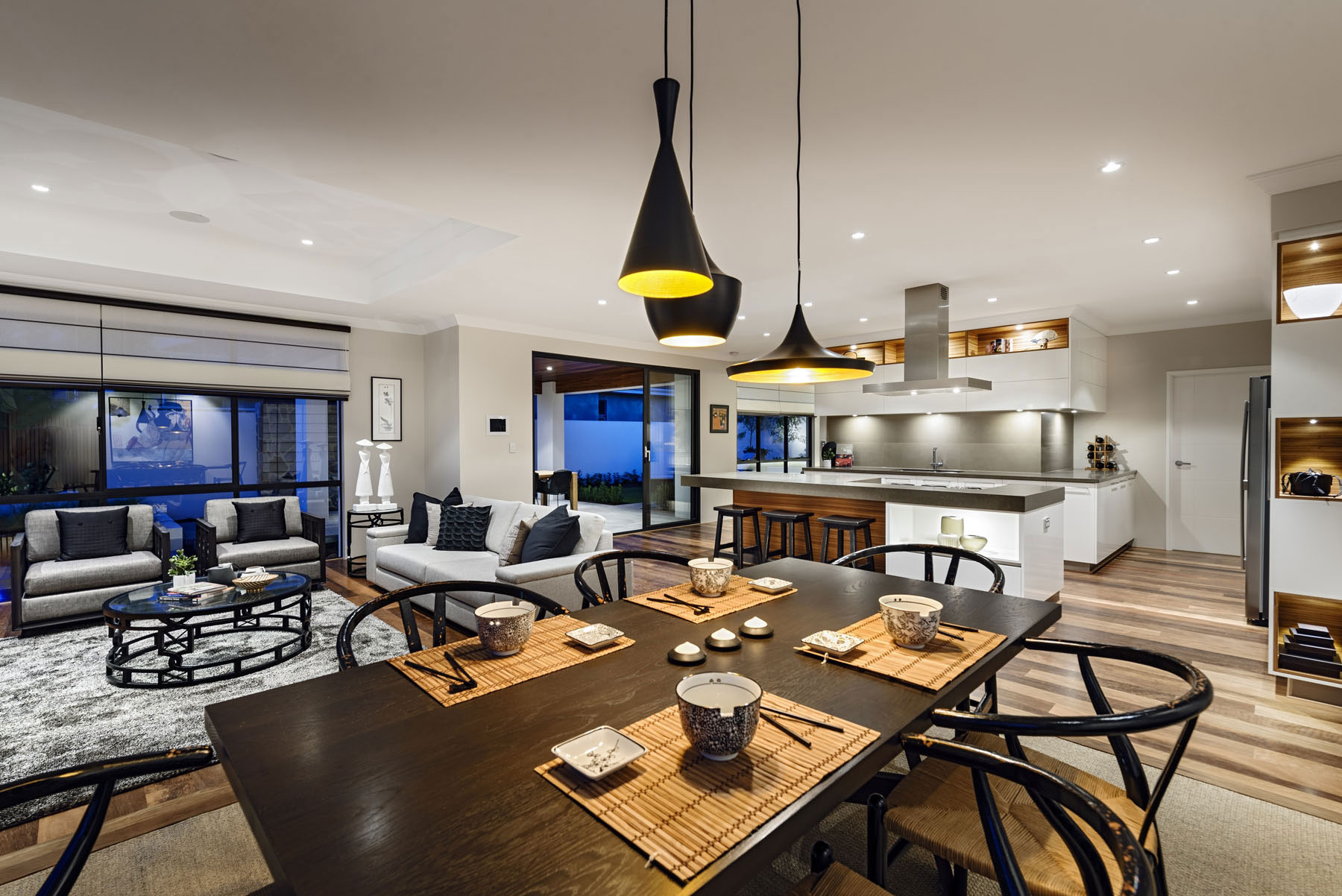 Pendant Lighting, Wooden Dining Table, House in Burns Beach, Perth