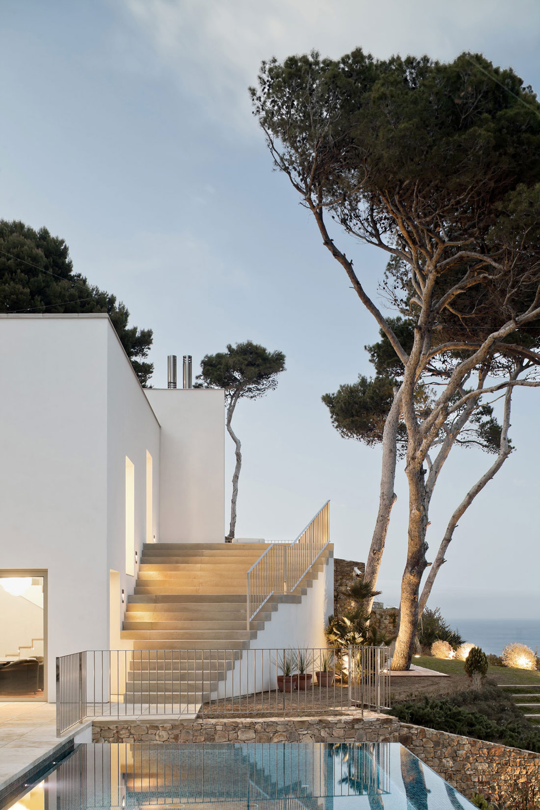 Pool, Stairs, Lighting, Waterfront House in Costa Brava, Spain