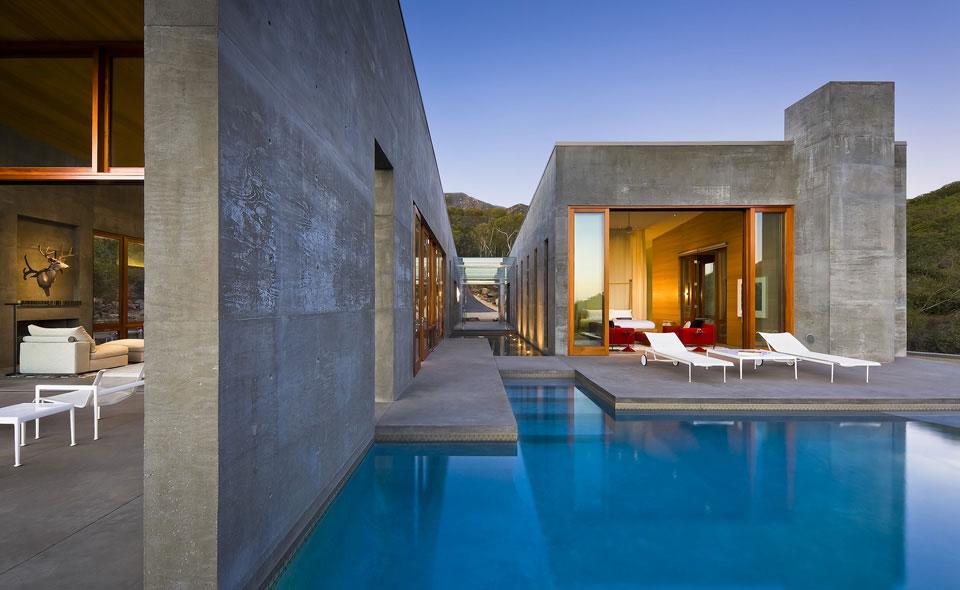 Pool, Terrace, Concrete House in Montecito, California