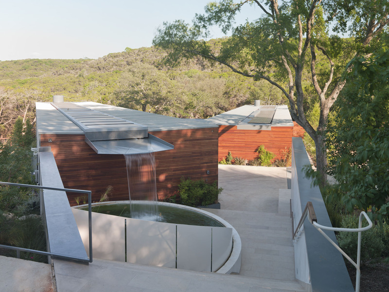 Roof, Waterfall, Water Collection Pond, Eco-Friendly House in Texas