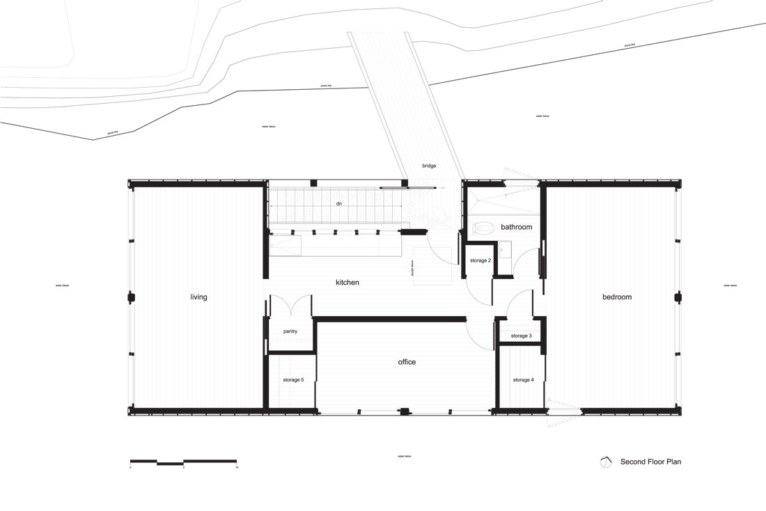 Second Floor Plan, Floating House on Lake Huron