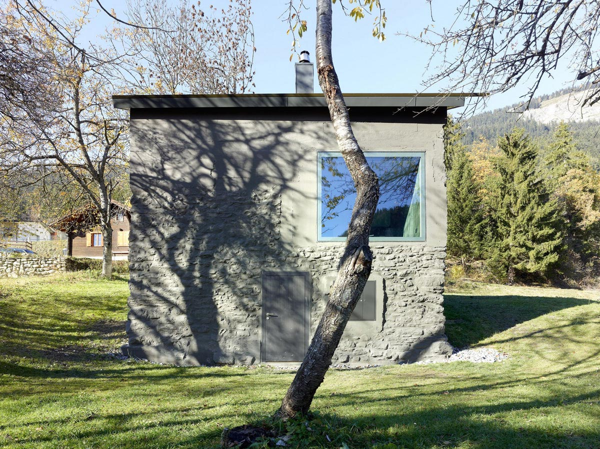 Side Facade, Holiday Home Renovation in Ayent, Switzerland