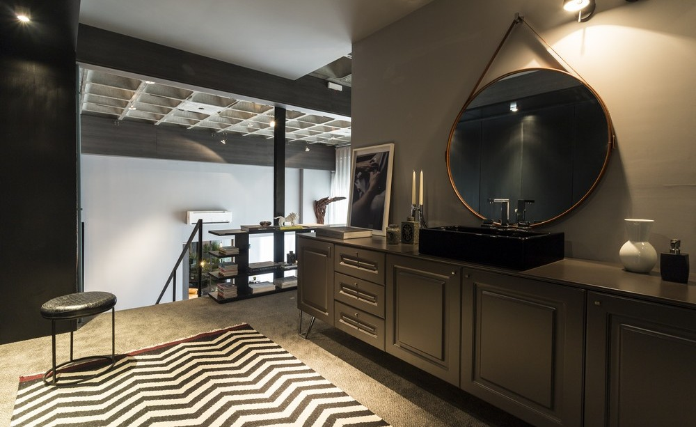 Sink, Mirror, Rug, Dark Bathroom, Apartment in Praia Brava